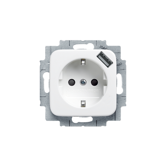 1 schuko socket outlet with center plate and usb charger ip20 20eucbusb 214 abb oy