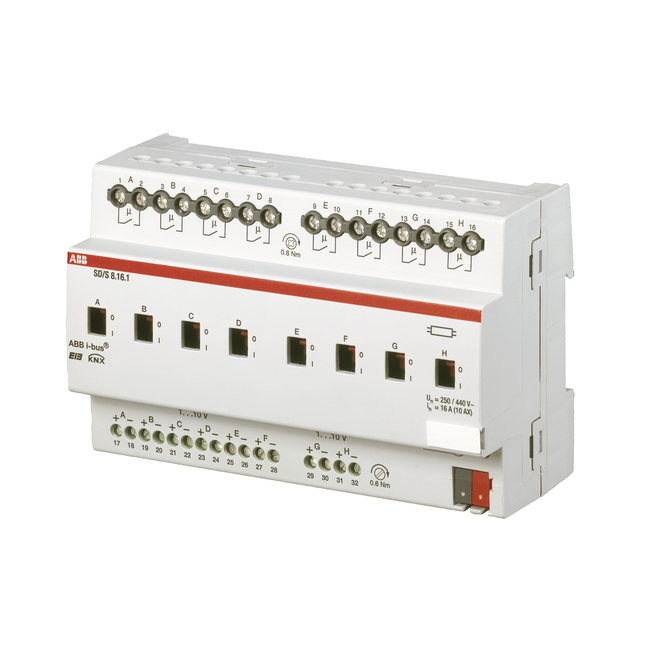 2-, 4- and 8-fold actuators, 1-10 V: SD/S8 16 1 | ABB Oy, Wiring